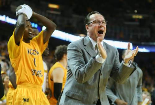 Wichita State head coach Gregg Marshall cheers on his team during the second half of an NCAA college basketball game against Utah, Saturday, Dec. 12, 2015 in Wichita, Kan. (Travis Heying/The Wichita Eagle via AP) LOCAL TELEVISION OUT; MAGS OUT; LOCAL RADIO OUT; LOCAL INTERNET OUT; MANDATORY CREDIT