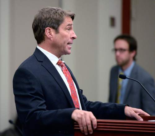 Al Hartmann  |  The Salt Lake Tribune Defense lawyer Scott Williams who has recently taken the case for former Utah Attorney General John Swallow asks Judge Elizabeth Hruby-Mills for more time to prepare his case in Third Distrcit Court in Salt Lake City Monday Dec. 14.  Swallow has pleaded not guilty to 14 felony and misdemeanor charges in connection with a bribery and corruption scandal stemming from his time in the attorney general's office.  Swallow did not appear in court due to Monday's snow storm.