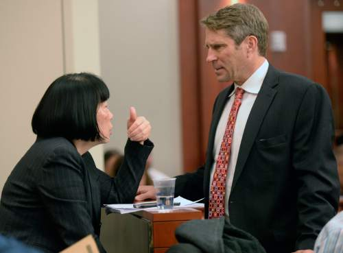 Al Hartmann  |  The Salt Lake Tribune Deputy Salt Lake County Attorney  Chou Chou Collins, left, huddles with defense lawyer Scott Williams prior to a status hearing for former Utah Attorney General John Swallow in Third Distrcit Court in Salt Lake City Monday Dec. 14. Williams who has recently taken the case asked Judge Elizabeth Hruby-Mills for more time to prepare his defense for Swallow has pleaded not guilty to 14 felony and misdemeanor charges in connection with a bribery and corruption scandal stemming from his time in the attorney generalís office.  Swallow did not appear in court due to Monday's snow storm.