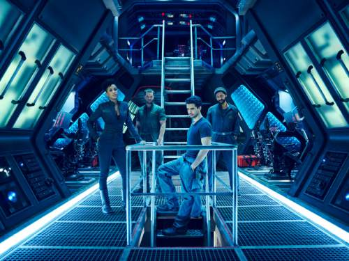 "Dominique Tipper as Naomi Nagata, Wes Chatham as Amos, Steven Strait as Earther James Holden in ""The Expanse."" Jason Bell  