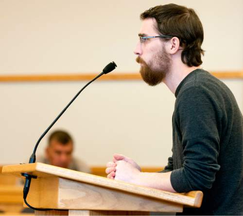 John Zsiray  |  Pool Photo  Ryan Wray listens to questions from 1st District Court Judge Kevin K. Allen on Monday October 26, 2015 in Logan. Wray pleaded guilty to inappropriately touching an unconscious female during a frat party.