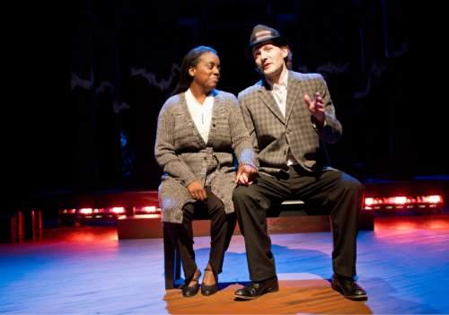 "Lennie Mahler  |  The Salt Lake Tribune Dee-Dee Darby-Duffin and David Fetzer rehearse ""Third Crossing,"" a drama by local playwright Debora Threedy."