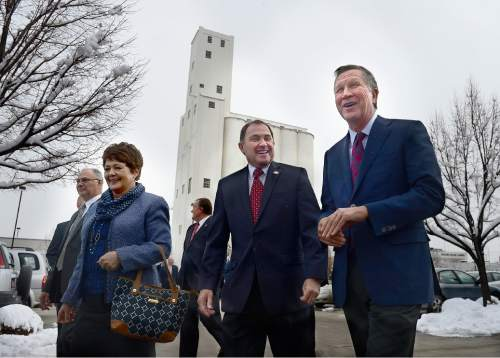 Scott Sommerdorf   |  The Salt Lake Tribune Ohio Gov. John Kasich, right, a candidate for the Republican presidential nomination, tours LDS Welfare Square with Gov. Gary Herbert and his wife, First Lady Jeanette Herbert, left, Wednesday, December 16, 2015.