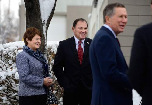 Scott Sommerdorf   |  The Salt Lake Tribune Utah Governor Gary Herbert wife First Lady Jeanette Herbert listen as Ohio Gov. John Kasich, a candidate for the Republican presidential nomination, takes some questions after they all toured LDS Welfare Square, Wednesday, December 16, 2015.