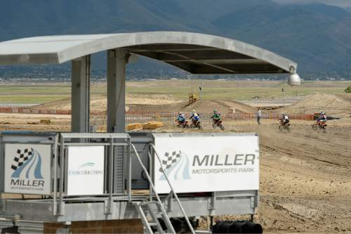 Trent Nelson  |  The Salt Lake Tribune Motorcyclists race at the Miller Motorsports Park, Saturday May 23, 2015.
