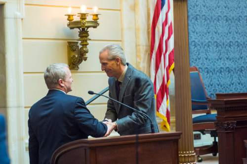 Chris Detrick  |  The Salt Lake Tribune Senate President Wayne L. Niederhauser shakes the hand of Utah Supreme Court Justice nominee John Pearce after he is confirmed by the Senate at the Utah State Capitol Wednesday December 16, 2015.