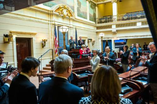 Chris Detrick  |  The Salt Lake Tribune Utah Supreme Court Justice nominee John Pearce is given a standing ovation after being confirmed by the Senate at the Utah State Capitol Wednesday December 16, 2015.