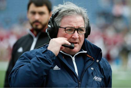 Akron head coach Terry Bowden during the first quarter of an NCAA college football game against Massachusetts in Foxborough, Mass., Saturday, Nov. 7, 2015. (AP Photo/Michael Dwyer)