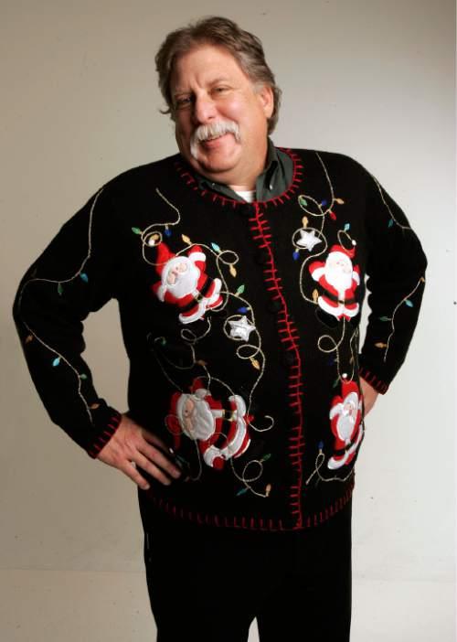 Salt Lake Tribune columnist Robert Kirby in his ugly Christmas sweater. Salt Lake Tribune photo / Scott Sommerdorf