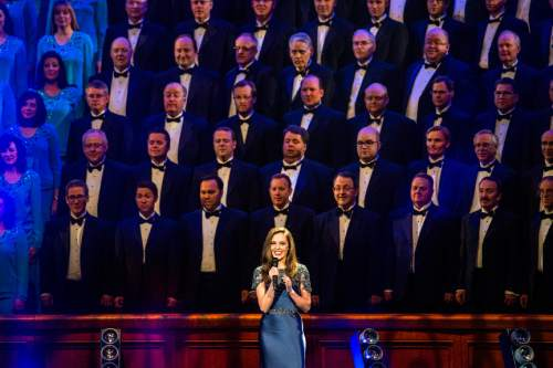 Chris Detrick  |  The Salt Lake Tribune Broadway star Laura Osnes performs during the annual Mormon Tabernacle Choir Christmas concert at The Church of Jesus Christ of Latter-day Saints Conference Center Thursday December 17, 2015.