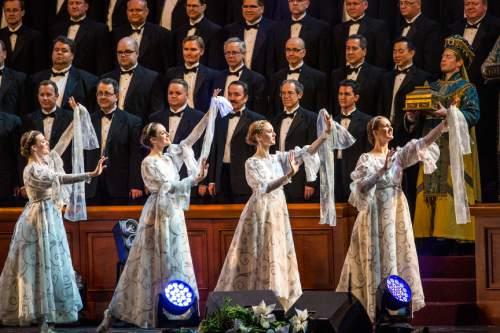 Chris Detrick  |  The Salt Lake Tribune The annual Mormon Tabernacle Choir Christmas concert at The Church of Jesus Christ of Latter-day Saints Conference Center Thursday December 17, 2015.