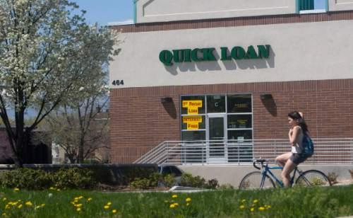 Al Hartmann  |  The Salt Lake Tribune   Quick Loan, a payday loan lender at 464 S. 600 East in Salt Lake City.  The Salt Lake City Council is contemplating restricting density of the payday loan lenders.