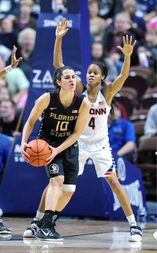 In this Dec. 11, 2015 photo, Florida State's Leticia Romero, left, is guarded by Connecticut's Moriah Jefferson during an NCAA college basketball game in Uncasville, Conn. (AP Photo/Fred Beckham)