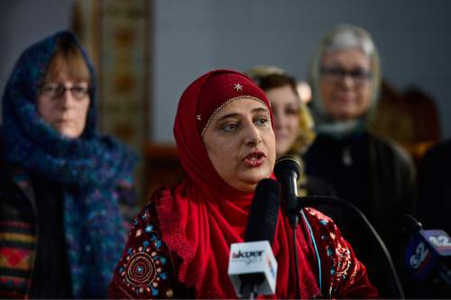 """Scott Sommerdorf      The Salt Lake Tribune Noor Ul-Hasan spoke at a news conference at Khadeeja Islamic Center in West Valley City, Thursday, December 17, 2015 to announce """"Wear a Hijab"""" and other headgear on Friday as a show of support for Muslims."""
