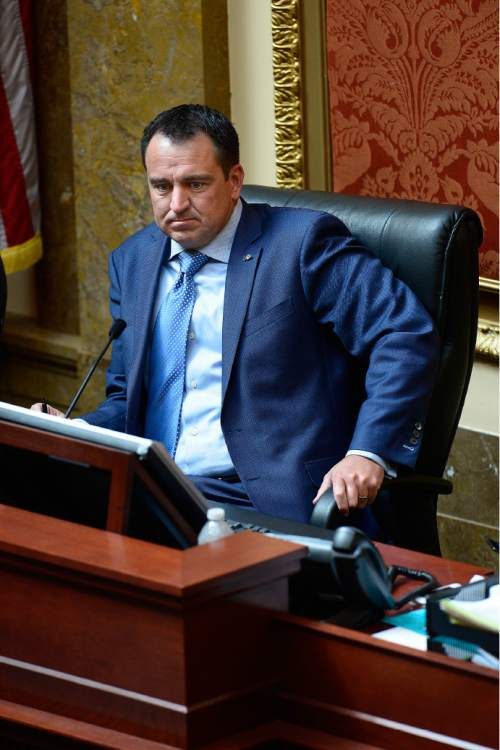 Scott Sommerdorf   |  The Salt Lake Tribune Speaker of the House Greg Hughes, R-Draper, in the Utah House of Representatives, Thursday, February 19, 2015.