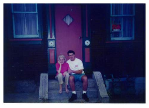 photo courtesy Greg Hughes  Greg Hughes with his grandmother, Maxine James, who helped raise him, in front of her home near Pittsburgh.