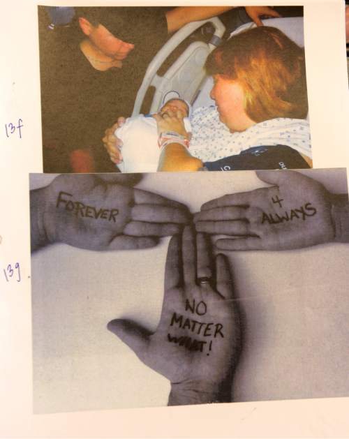 Photos courtesy  Nicki Bidlack.  Nicki Bidlack and her partner Sara Clow on the day of their son's birth in 2013 (top) and a photo of the hands of Bidlack's two children and Sara Clow (bottom).  Chris Wharton, a Salt Lake City attorney, argued on behalf of Nicki Bidlack, whose longtime partner, Sara Clow, died before they could formally marry, securing what is believed to be the first recognition of a common law LGBT marriage from the 2nd District Court. The ruling allowed Bidlack to secure a new birth certificate for their son, which names both women as his parents.