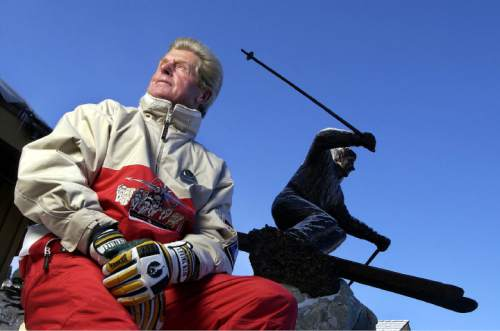 Francisco Kjolseth | The Salt Lake Tribune  Stein Eriksen next to his statue at the base of Deer Valley in 2002. Eriksen died Sunday at 88.