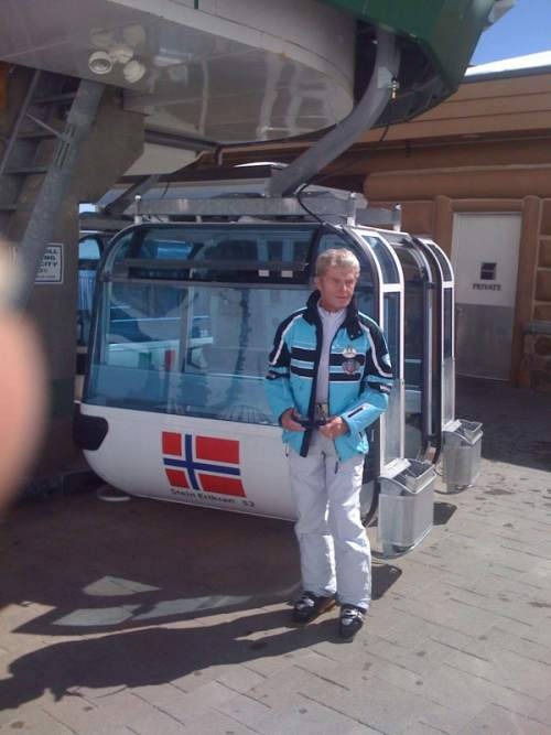 Photo courtesy of Jim Gaddis | On his first trip to Snowbasin Resort, Stein Eriksen was pleased to get a chance to pose for a photograph next to a gondola bearing his name. A 1952 Olympian and the longtime director of skiing at Deer Valley Resort, Eriksen died Sunday at age 88.