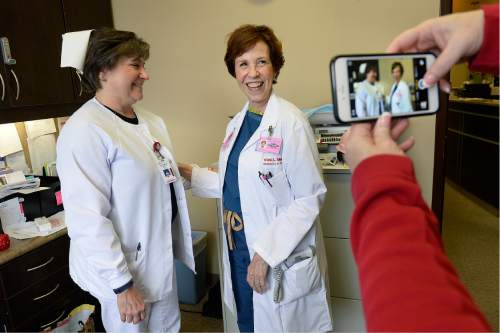 Scott Sommerdorf   |  The Salt Lake Tribune Dr. Vicki L. Macy, MD, OBGYN, is photographed with Stephanie Ault, RN, at Salt Lake Regional Medical Center, Wednesday, September 30, 2015. Ault has worked with Macy for over 21 years, and has worn the old-style nurses cap during that time.