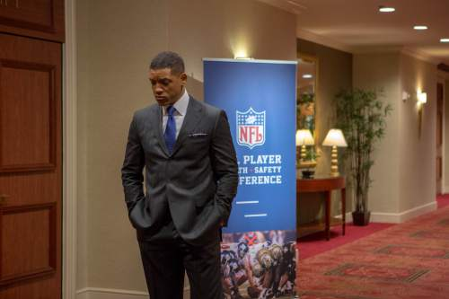 """This photo provided by Columbia Pictures shows, Will Smith as Dr. Bennet Omalu, in a scene from Columbia Pictures' """"Concussion."""" The movie releases in U.S. theaters on Dec. 25, 2015. (Melinda Sue Gordon/Columbia Pictures via AP)"""