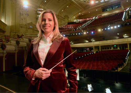 "Al Hartmann  |  The Salt Lake Tribune Ballet West's new music director, Tara Simoncic, in the Capitol Theatre where she's currently conducting performances of ""The Nutcracker."""