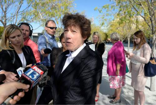 Al Hartmann  |  The Salt Lake Tribune Peggy Tomsic, attorney for Utah Planned Parenthood speaks to the media outside the Federal Court building in Salt Lake City after a hearing before U.S. District Judge Clark Waddoups Thursday October 15.   The family planning organization is suing Utah Governor Gary Herbert for cutting of its federal funding.