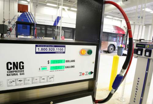 Scott Sommerdorf   |  The Salt Lake Tribune UTA has opened a new compressed natural gas fueling facility behind its HQ building, Wednesday, December 30, 2015.