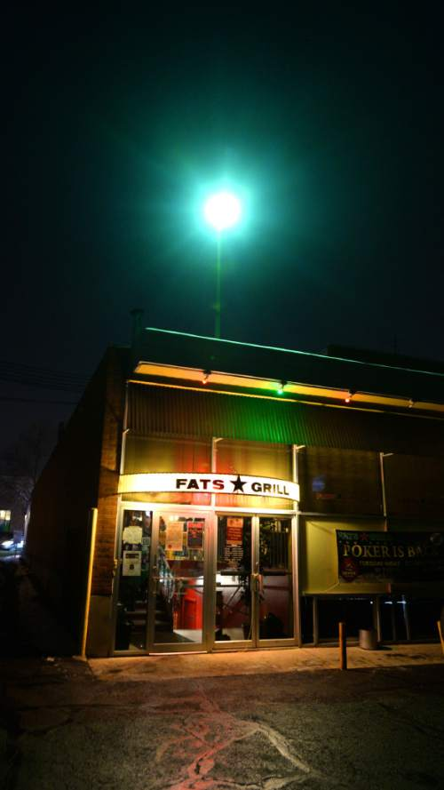 Steve Griffin  |  The Salt Lake Tribune  The lights burn for one last night at Fats Grill's last night of business in Salt Lake City, Wednesday, December 30, 2015. The long time bar and grill will be torn down and be replaced by a office tower.