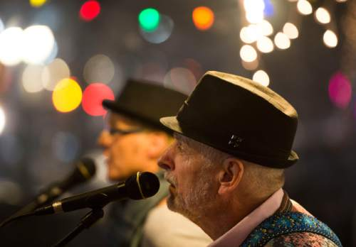 Steve Griffin  |  The Salt Lake Tribune  Patricia Tortorici and Roy Matthews, of the music duo Pat and Roy, perform during Fats Grill's last night of business in Salt Lake City, Wednesday, December 30, 2015. The long time bar and grill will be torn down and be replaced by a office tower.