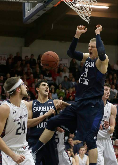 BYU forward Nate Austin, right, dunks against Saint Mary's (Calif.) during the first half of an NCAA college basketball game in Moraga, Calif., Thursday, Dec. 31, 2015. (AP Photo/Jeff Chiu)
