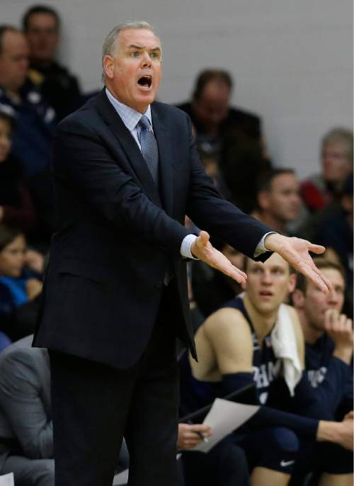 BYU head coach Dave Rose gestures during the first half of an NCAA college basketball game against Saint Mary's in Moraga, Calif., Thursday, Dec. 31, 2015. (AP Photo/Jeff Chiu)