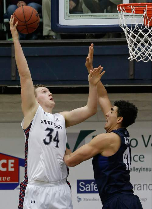 Saint Mary's center Jock Landale (34) shoots against BYU center Corbin Kaufusi during the first half of an NCAA college basketball game in Moraga, Calif., Thursday, Dec. 31, 2015. (AP Photo/Jeff Chiu)
