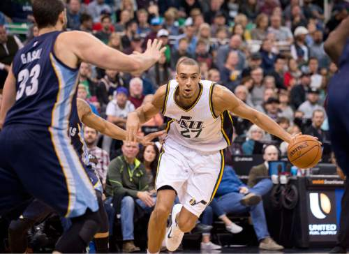 Lennie Mahler  |  The Salt Lake Tribune  Utah center Rudy Gobert looks for an open lane in the first half of a game against the Memphis Grizzlies at Vivint Smart Home Arena on Saturday, Nov. 7, 2015.