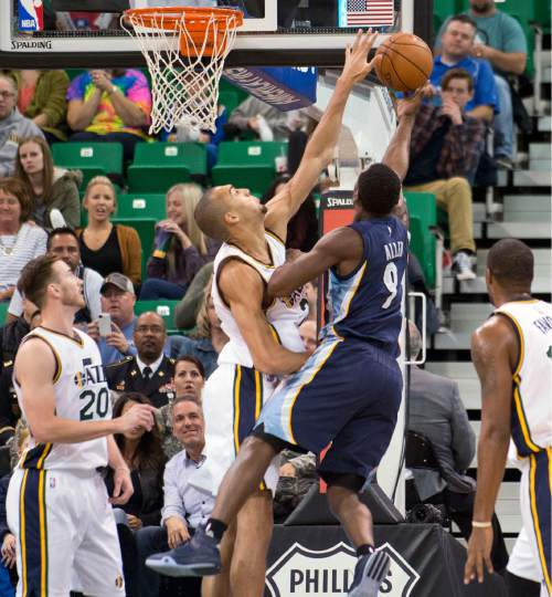Lennie Mahler  |  The Salt Lake Tribune  Utah center Rudy Gobert blocks Tony Allen's layup in the first half of a game against the Memphis Grizzlies at Vivint Smart Home Arena on Saturday, Nov. 7, 2015.
