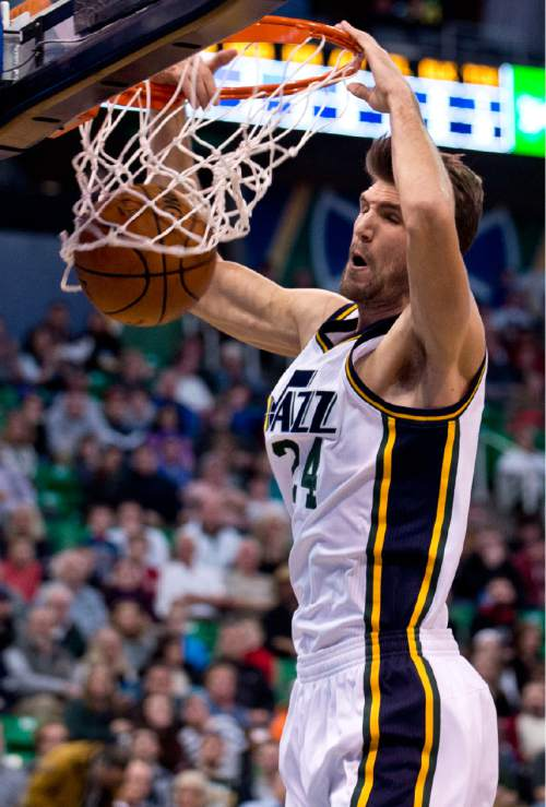 Lennie Mahler  |  The Salt Lake Tribune  Jazz center Jeff Withey dunks the ball in the first quarter of a game against the Philadelphia 76ers at Vivint Smart Home Arena, Monday, Dec. 28, 2015.