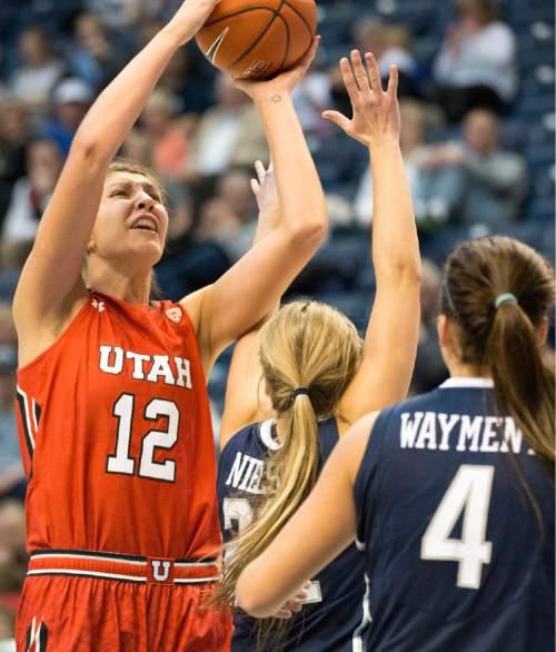 Rick Egan  |  The Salt Lake Tribune  Utah Utes forward Emily Potter (12) shoots over Brigham Young Cougars forward Amanda Wayment (4), in basketball action, BYU vs. Utah, in the Marriott Center, Saturday, December 12, 2015.
