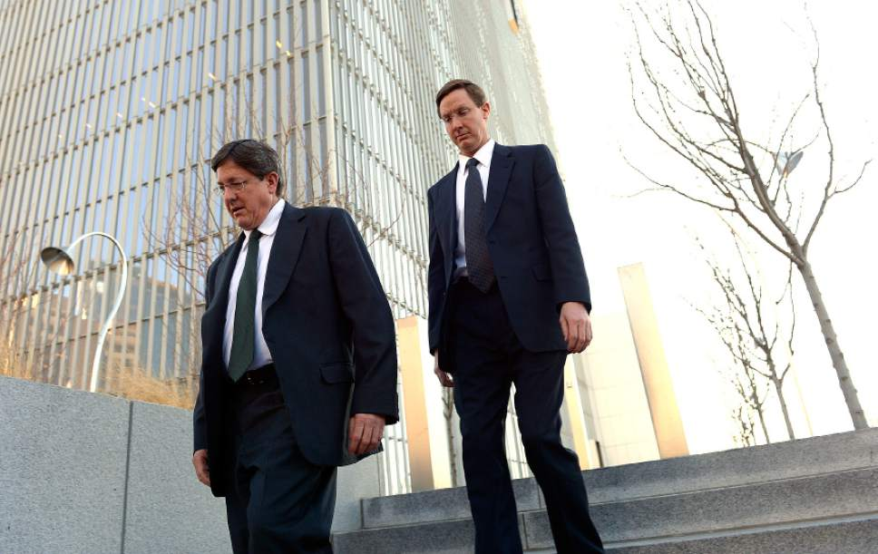 Leah Hogsten  |  Tribune file photo Left to right: Lyle Jeffs and Nephi Jeffs appeared in U. S. District Court in Salt Lake City, Wednesday, January 21, 2015, in connection with a lawsuit filed by the U.S. Department of Labor. Both men are brothers of Warren Jeffs, leader of the Fundamentalist Church of Latter-Day Saints.  The U.S. Attorney's Office for Utah says  Warren Jeffs, now imprisoned in Texas, has named Nephi Jeffs the new bishop of Hildale, Utah, and Colorado City, Ariz.