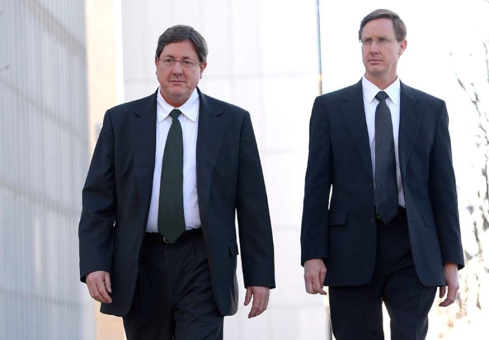Leah Hogsten  |  The Salt Lake Tribune Lyle Jeffs, left, believed to be the FLDS bishop in Hildale, Utah, and Colorado City, Arizona, and Nephi Jeffs appeared in U. S. District Court in Salt Lake City in January 21, 2015. Both men, who are Warren Jeffs' brothers, have been served subpoenas in a U.S. Department of Labor lawsuit against Paragon Contractors, that provided labor for the Southern Utah Pecan Ranch near Hurricane. Both businesses are owned by members of the FLDS. Labor department investigators, according to court documents, believe that as many as 1,400 school-age children and their parents participated in the harvest.