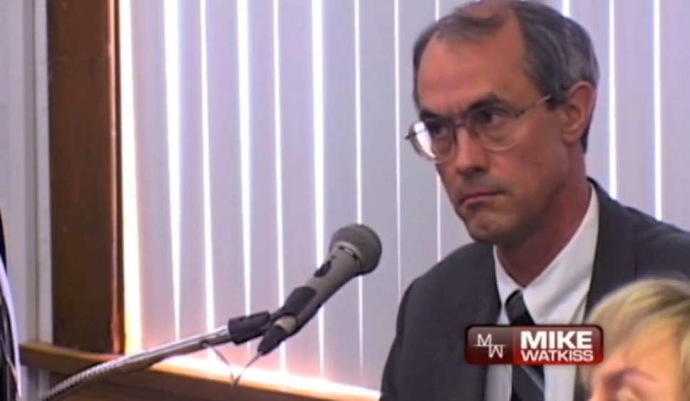 |  Courtesy Mike Watkiss  LeRoy Jeffs on the witness stand during a case about the evection of a FLDS member from a home.