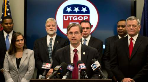 Lennie Mahler     The Salt Lake Tribune Fred Cox, Utah House District 30, speaks to the media about poll results of SB 54, a legislative compromise from the Count My Vote initiative, at the Utah Republican Party headquarters in Salt Lake City, Sunday, Jan. 4, 2015.