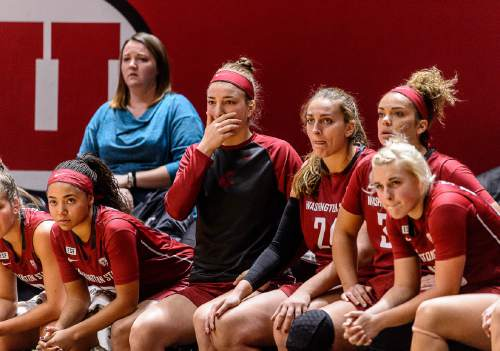 Trent Nelson  |  The Salt Lake Tribune The Washington State bench in the final minute with a one point lead, as the University of Utah hosts Washington State, NCAA women's basketball at the Huntsman Center, Saturday January 2, 2016.