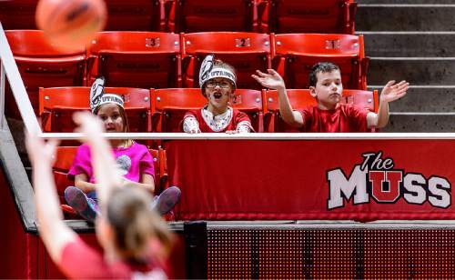 Trent Nelson  |  The Salt Lake Tribune Utah fans try to distract a Washington State player shooting a free throw in the third quarter as the University of Utah hosts Washington State, NCAA women's basketball at the Huntsman Center, Saturday January 2, 2016.