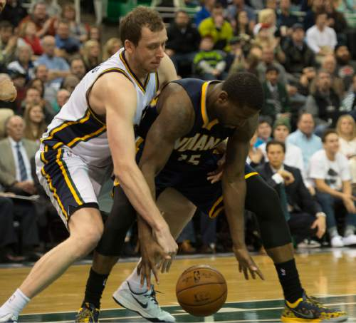 Rick Egan     The Salt Lake Tribune  Utah Jazz forward Joe Ingles (2) steals the ball from Indiana Pacers guard Donald Sloan (15) in the final seconds of the game, in NBA action, Utah vs Indiana, at EnergySolutions Arena, Monday, January 5, 2015