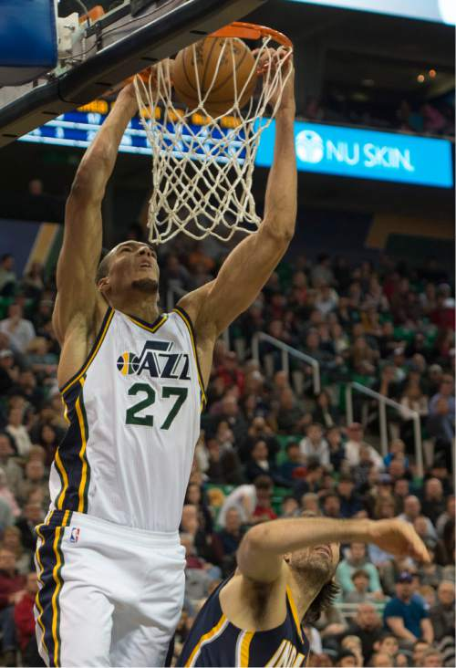 Rick Egan     The Salt Lake Tribune  Utah Jazz center Rudy Gobert (27) dunks the ball, in NBA action, Utah vs Indiana, at EnergySolutions Arena, Monday, January 5, 2015