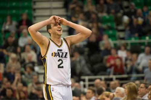 Rick Egan     The Salt Lake Tribune  Utah Jazz forward Joe Ingles (2) reacts after being called for a foul, in NBA action, Utah vs Indiana, at EnergySolutions Arena, Monday, January 5, 2015