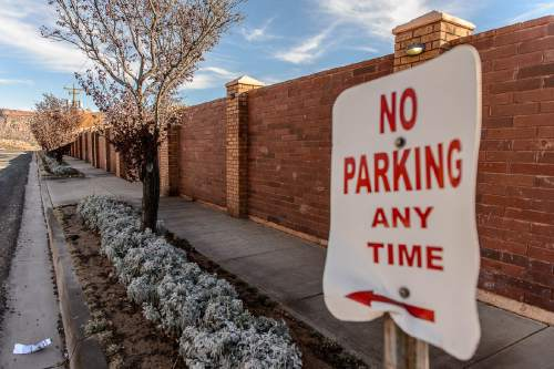 "Trent Nelson  |  The Salt Lake Tribune FLDS leader Lyle Jeffs lives in the large Jeffs compound, known as ""the block"", in Hildale, Wednesday December 2, 2015. no parking any time"