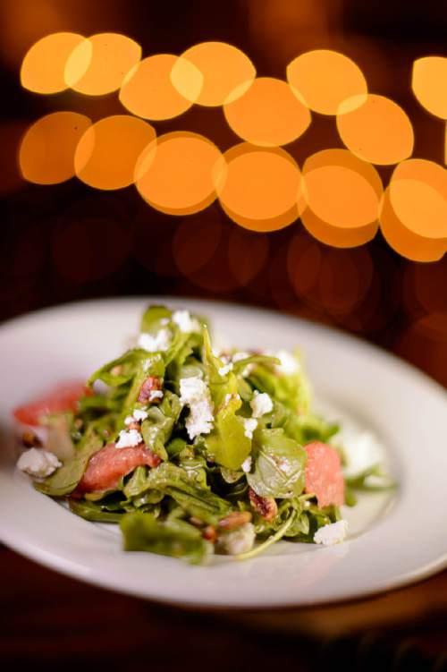 Trent Nelson  |  The Salt Lake Tribune The Porch Salad at Porch, a Southern-inspired restaurant located in Daybreak's SoDa Row in South Jordan. (Arugula, butter lettuce, Drake Farms chevre, grapefruit, spiced pecans, cider bourbon vinaigrette.)