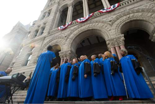 Steve Griffin  |  The Salt Lake Tribune   The Calvary Baptist Church Choir performs during Oath of Office Ceremony for Mayor Jackie Biskupski and council members Andrew Johnston, Derek Kitchen and Charlie Luke at the City & County Building in Salt Lake City, Monday, January 4, 2016.