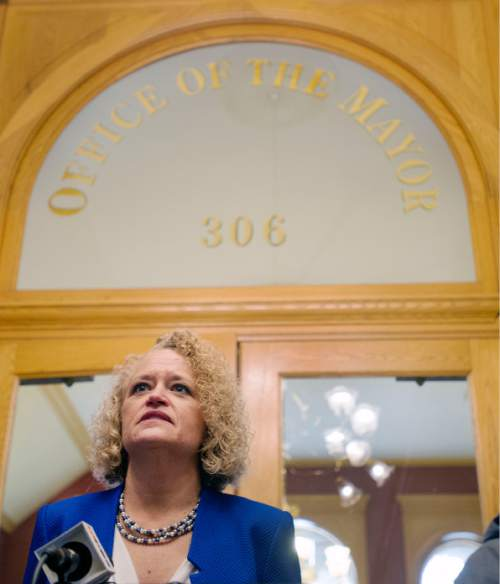 Steve Griffin  |  The Salt Lake Tribune  Salt Lake Mayor Jackie Biskupsk talks with the media following Oath of Office Ceremony for her and council members Andrew Johnston, Derek Kitchen and Charlie Luke at the City & County Building in Salt Lake City, Monday, January 4, 2016.